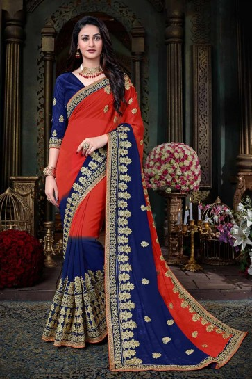 Red & Royal Blue Georgette saree