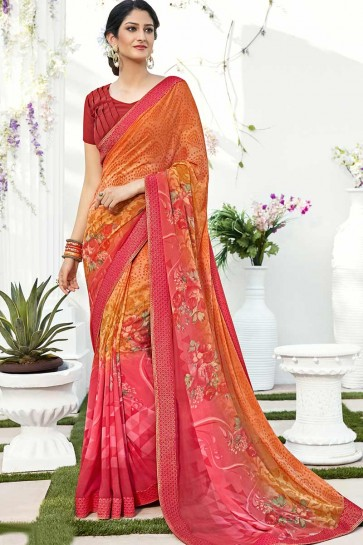 Orange & Pink Georgette saree