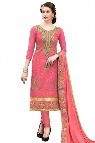 Dark Pink Modal Cotton Churidar Suit