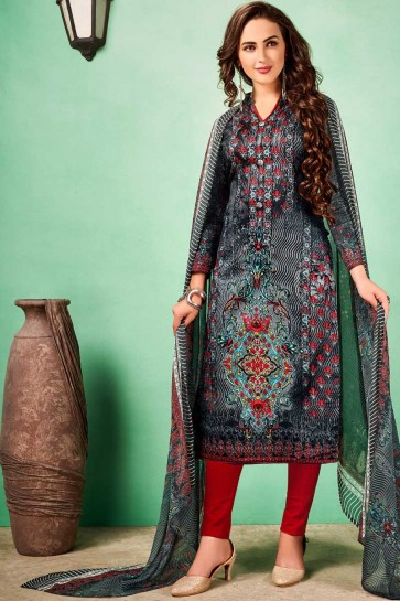 Dark Grey Cotton Churidar Suit