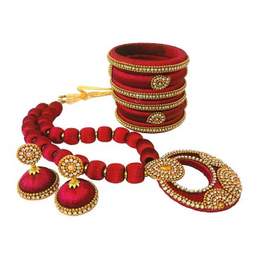 Maroon American diamond, synthatic pearl Necklace Set