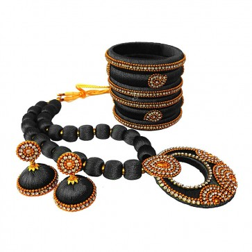 Black American diamond, synthatic pearl Necklace Set
