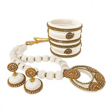 White American diamond, synthatic pearl Necklace Set
