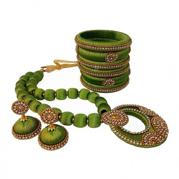 Olive Green American diamond, synthatic pearl Necklace Set