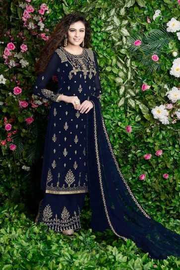 Navy Blue Georgette Palazzo Suit