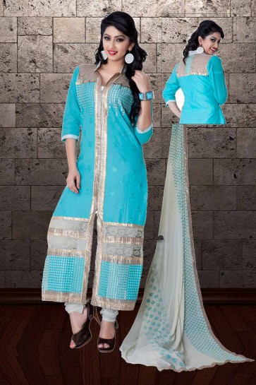 Blue Cambric Cotton Churidar Suit