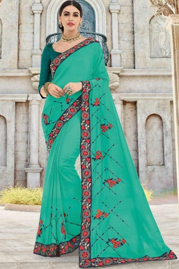 Sea Green Art Silk saree