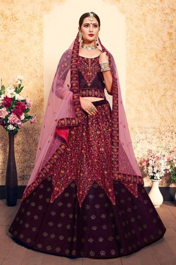 Wine Satin Lehenga Choli
