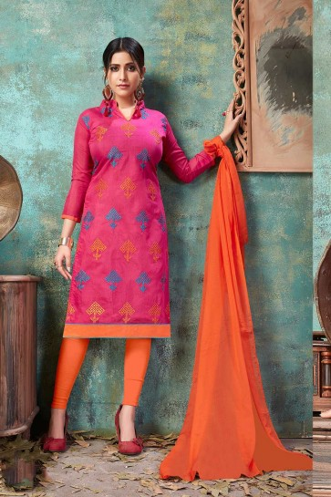 Dark Pink Chanderi Cotton Churidar Suit