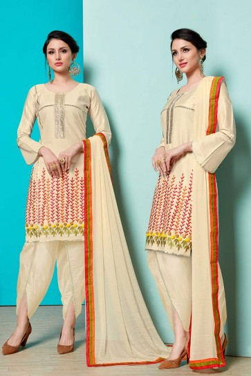 Beige Jam Cotton Churidar Suit