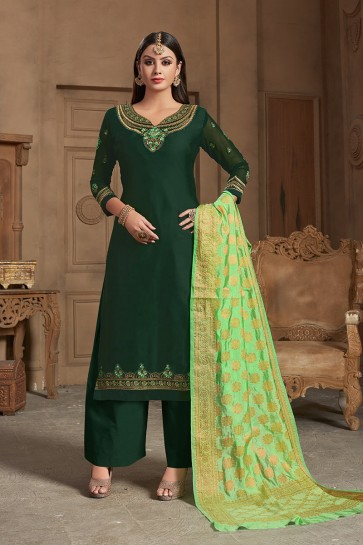 Dark Green Satin Georgette Palazzo Suit