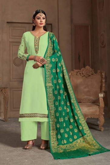 Pastel Green Satin Georgette Palazzo Suit