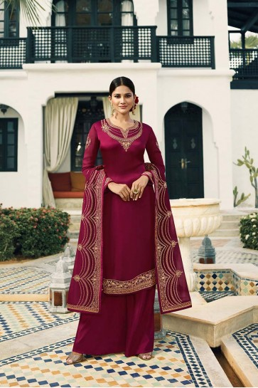 Magenta Pink Satin Georgette Palazzo Suit