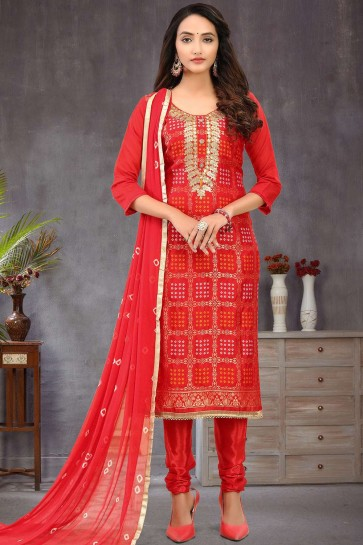 Red Banarsi jacquard Churidar Suit