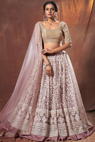 Lilac Soft net Wedding Lehenga Choli