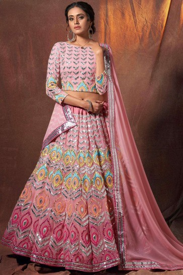 Peach Georgette Wedding Lehenga Choli