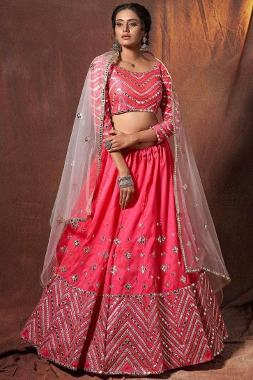 Neon pink Art silk Wedding Lehenga Choli