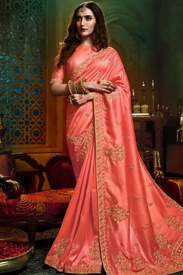 Light ras peach Art silk Saree