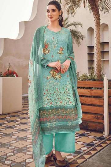 Light teal Silk and viscose Palazzo Suit