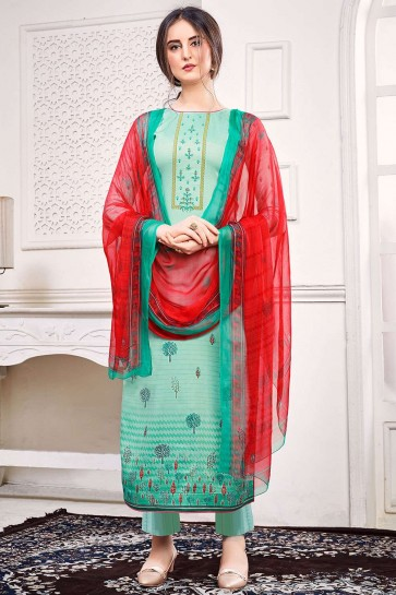See green Satin Eid Palazzo Suit