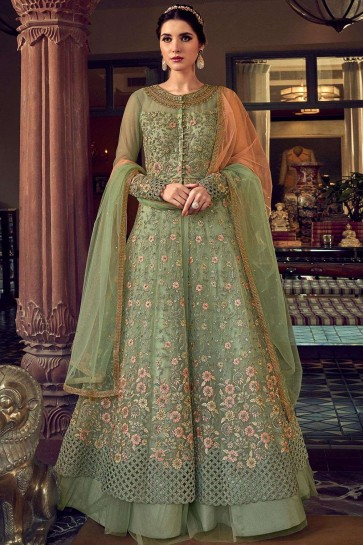 Fennel green Net Eid Anarkali Suit