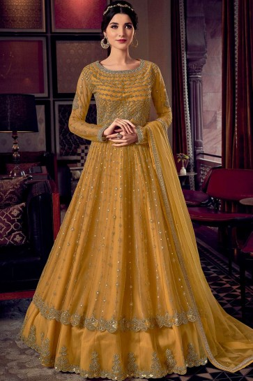 Yellow Net Eid Anarkali Suit