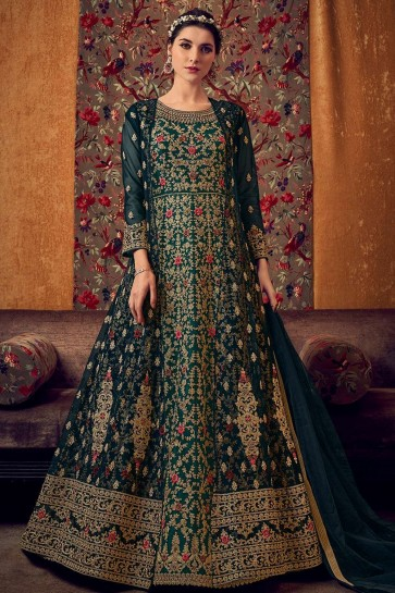 Rama green Net Eid Anarkali Suit