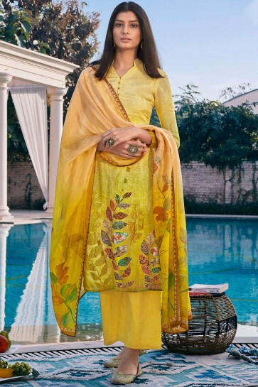 Golden,yellow Cotton and silk Palazzo Suit