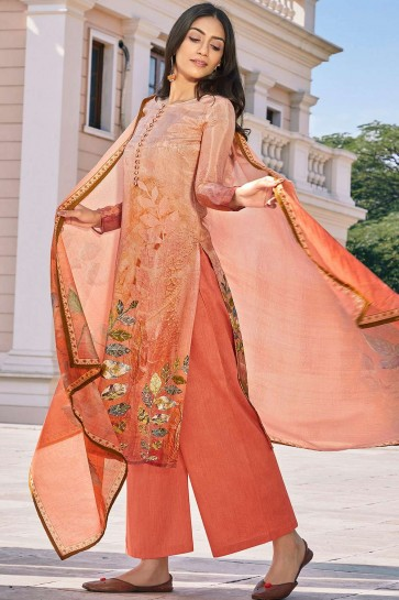 Light peach Cotton and silk Patiala Suit
