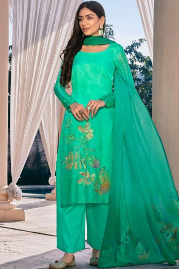 Light green Cotton and silk Palazzo Suit