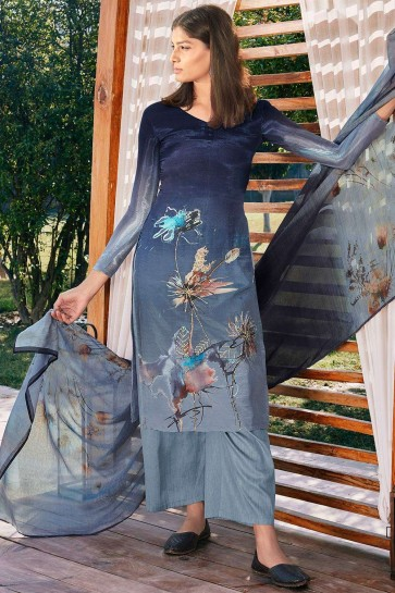Light grey Cotton and silk Palazzo Suit