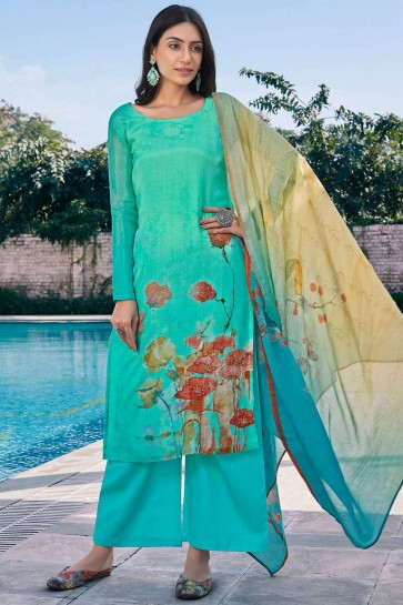 Firozi blue Cotton and silk Palazzo Suit