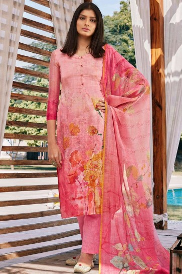 Light pink Cotton and silk Palazzo Suit