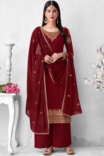 Maroon Faux georgette Palazzo Suit