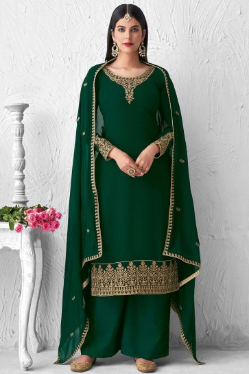 Green Faux georgette Palazzo Suit