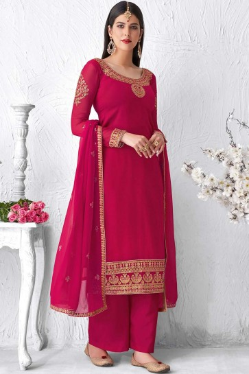 Pink Faux georgette Palazzo Suit