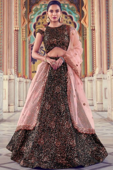 Black Fur Party Wear Lehenga Choli