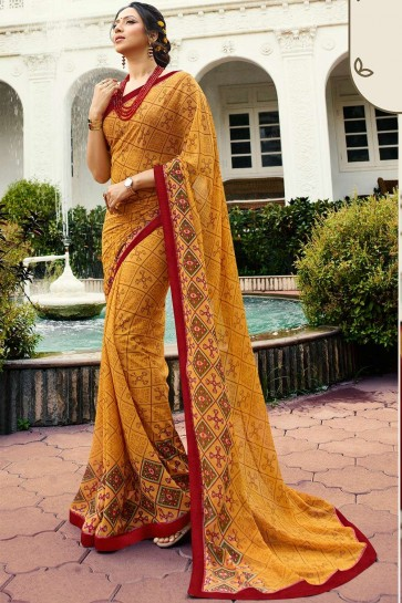Musterd yellow Georgette Saree