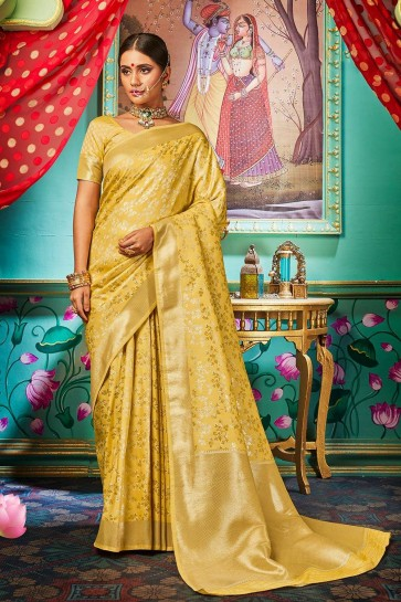 Yellow Banarasi raw silk Wedding Saree