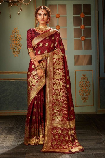 Maroon Banarasi raw silk Wedding Saree