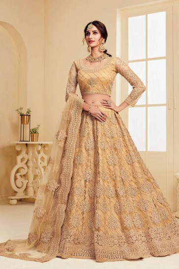 Golden Net Wedding Lehenga Choli