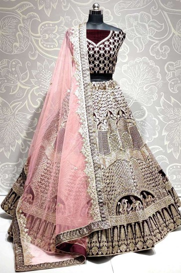 Black Velvet Wedding Lehenga Choli