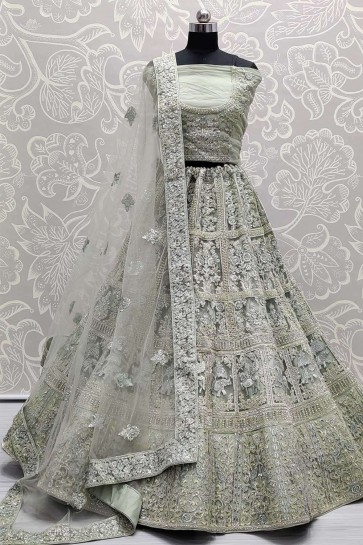 Grey Net Wedding Lehenga Choli