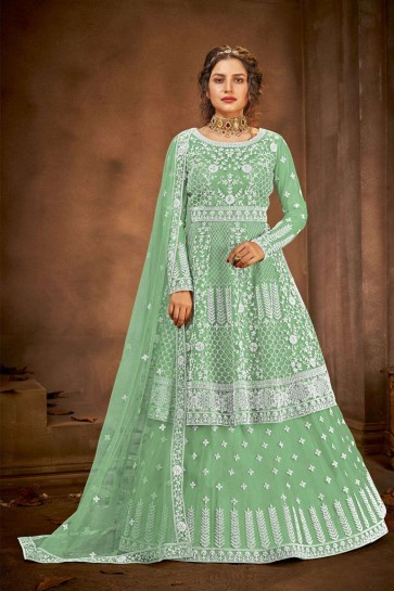 Green Net Eid Anarkali Suit