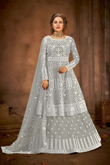 Grey Net Eid Anarkali Suit