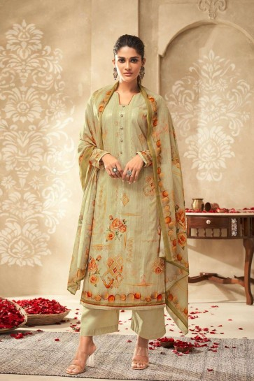 Olive Satin and silk Palazzo Suit