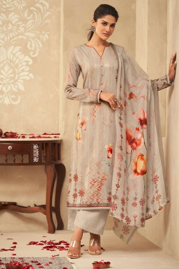 Light grey Satin and silk Palazzo Suit