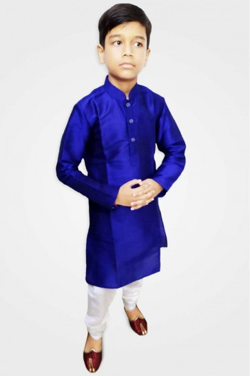 Blue Art silk Boy Kurta