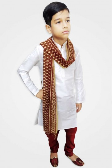 White Art silk Boy Kurta