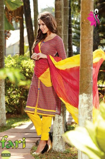 maroon Cotton Churidar Suits